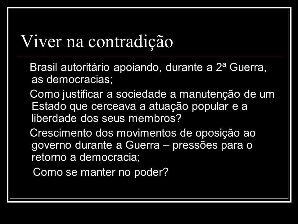 Viver na contradição Brasil autoritário apoiando, durante a 2ª Guerra, as democracias; Como justificar a sociedade a manutenção de um Estado que cerce