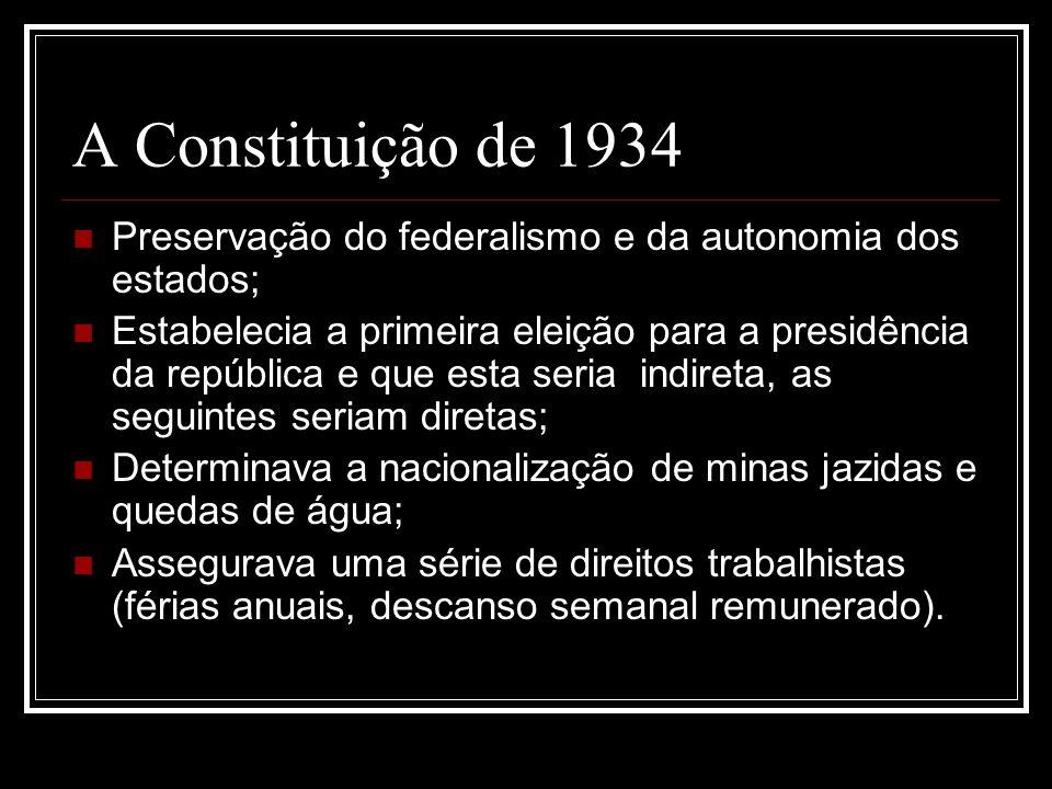 O Estado Novo Medidas ditatoriais A Constituição de 1937 Executivo se sobrepõe ao legislativo; Extinção dos partidos políticos; Decretos - lei em oposição a legislação; Nomeação de interventores; Subordinação do estado ao governo federal; Repressão aos movimentos de esquerda.