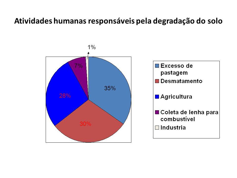 Atividades humanas responsáveis pela degradação do solo 28% 30% 35% 7% 1%