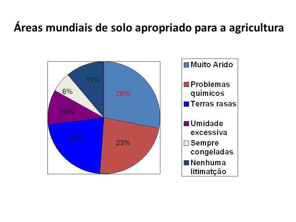 Áreas mundiais de solo apropriado para a agricultura 11% 6% 10% 22% 23% 28%