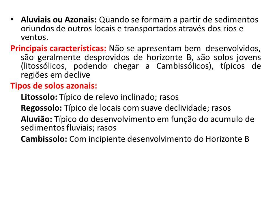 Aluviais ou Azonais: Quando se formam a partir de sedimentos oriundos de outros locais e transportados através dos rios e ventos. Principais caracterí