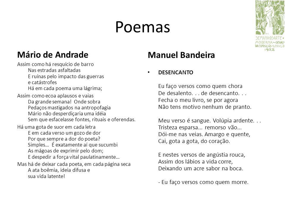 Poemas Mário de Andrade Manuel Bandeira Assim como há resquício de barro Nas estradas asfaltadas E ruínas pelo impacto das guerras e catástrofes Há em