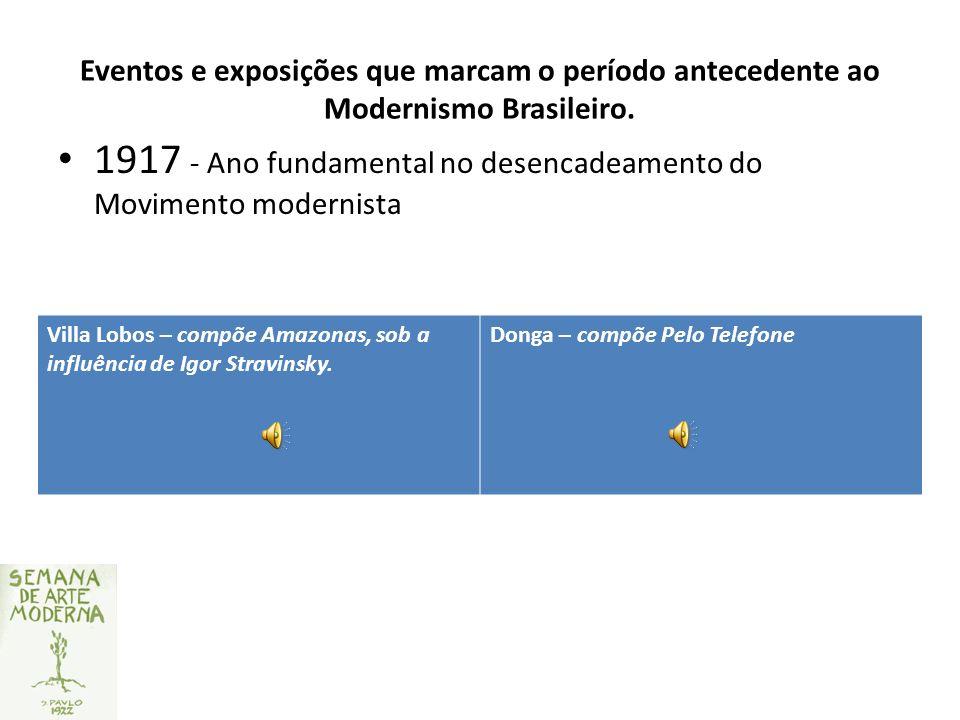 Eventos e exposições que marcam o período antecedente ao Modernismo Brasileiro. 1917 - Ano fundamental no desencadeamento do Movimento modernista Vill