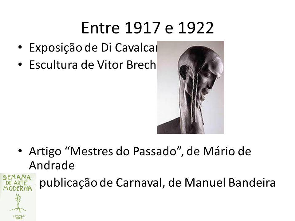 Entre 1917 e 1922 Exposição de Di Cavalcanti Escultura de Vitor Brecheret Artigo Mestres do Passado, de Mário de Andrade A publicação de Carnaval, de