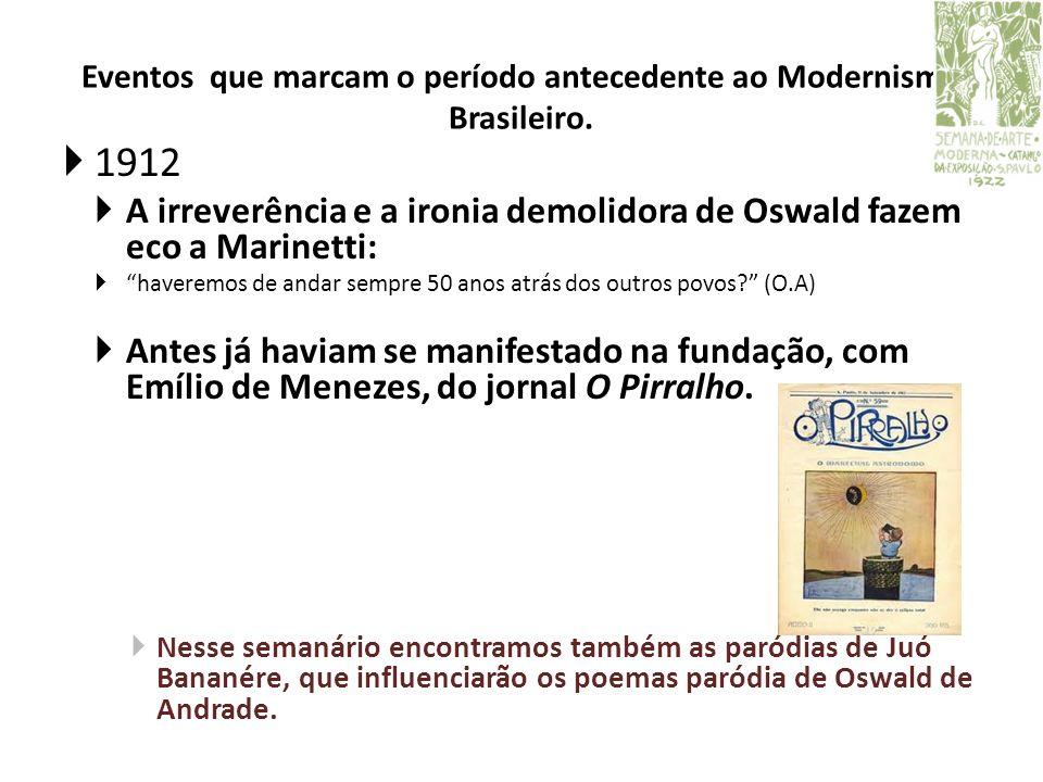Eventos que marcam o período antecedente ao Modernismo Brasileiro. 1912 A irreverência e a ironia demolidora de Oswald fazem eco a Marinetti: haveremo