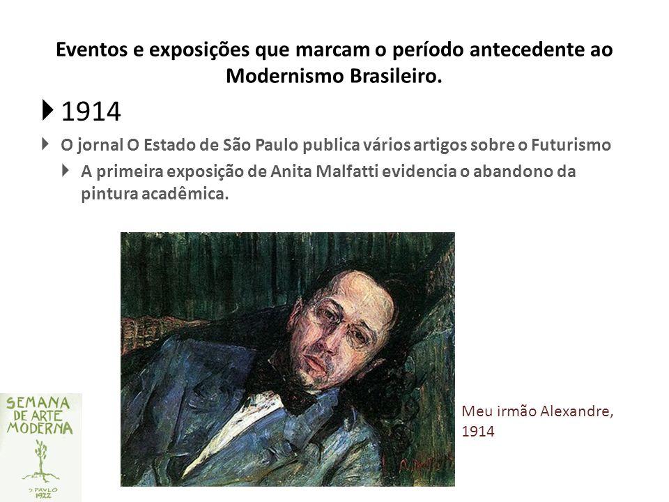 Eventos e exposições que marcam o período antecedente ao Modernismo Brasileiro. 1914 O jornal O Estado de São Paulo publica vários artigos sobre o Fut