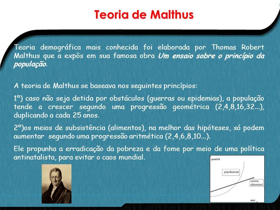 Teorias Demográficas O crescimento demográfico foi, ao longo do tempo, explicado a partir de teorias.