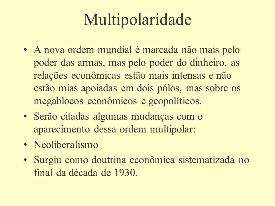 Multipolaridade A nova ordem mundial é marcada não mais pelo poder das armas, mas pelo poder do dinheiro, as relações econômicas estão mais intensas e