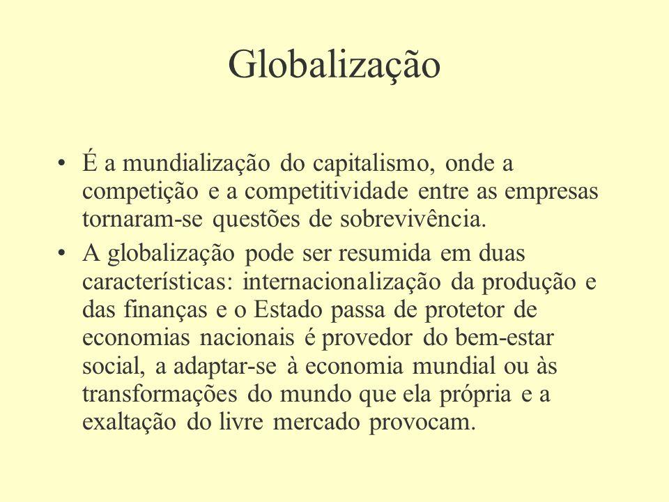 Globalização É a mundialização do capitalismo, onde a competição e a competitividade entre as empresas tornaram-se questões de sobrevivência. A global