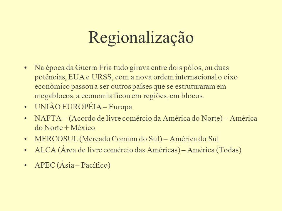 Regionalização Na época da Guerra Fria tudo girava entre dois pólos, ou duas potências, EUA e URSS, com a nova ordem internacional o eixo econômico pa
