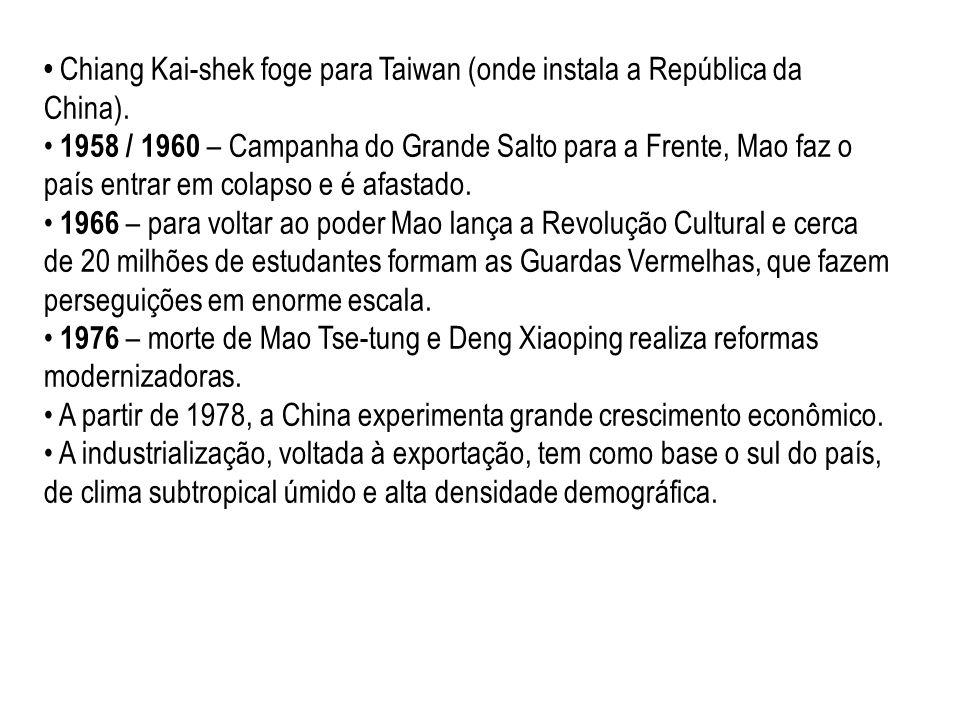 Chiang Kai-shek foge para Taiwan (onde instala a República da China).