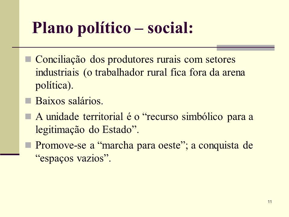 Plano político – social: Conciliação dos produtores rurais com setores industriais (o trabalhador rural fica fora da arena política). Baixos salários.