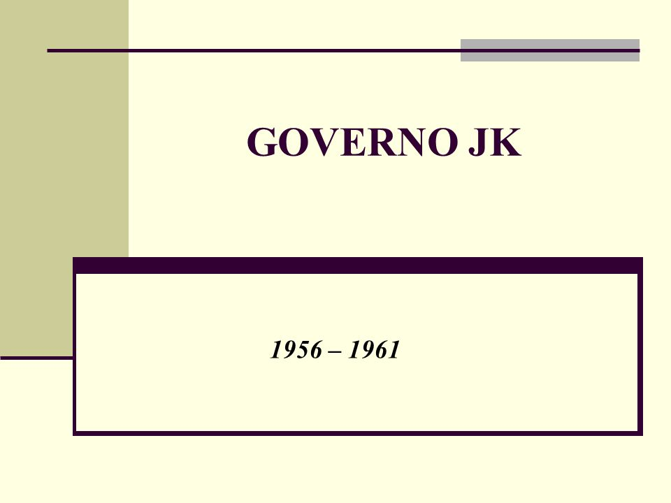 GOVERNO JK 1956 – 1961