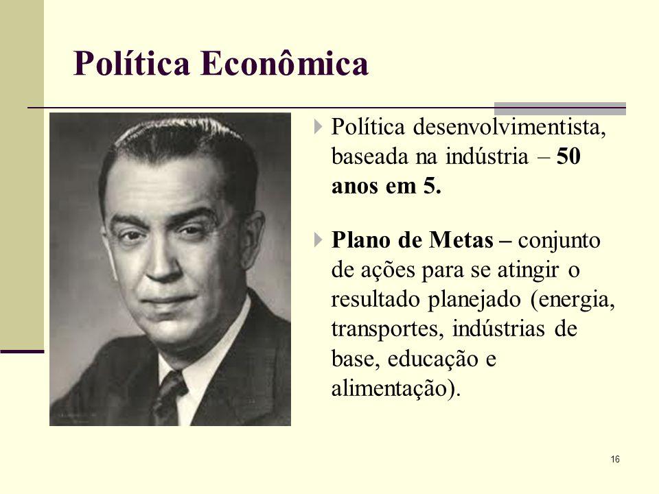 Política desenvolvimentista, baseada na indústria – 50 anos em 5. Plano de Metas – conjunto de ações para se atingir o resultado planejado (energia, t