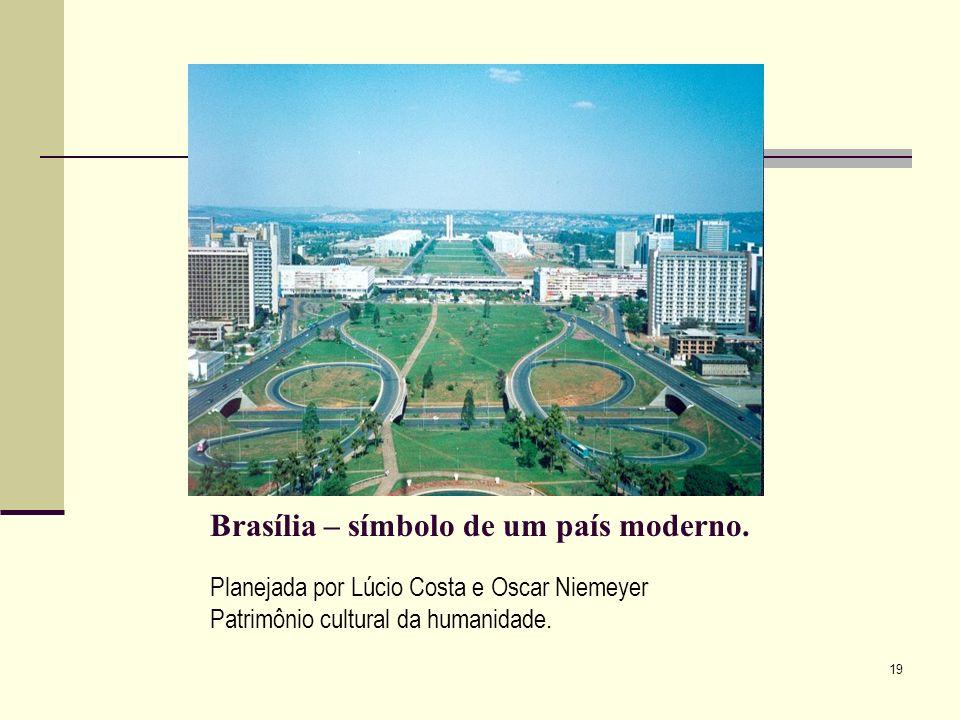 Planejada por Lúcio Costa e Oscar Niemeyer Patrimônio cultural da humanidade. Brasília – símbolo de um país moderno. 19