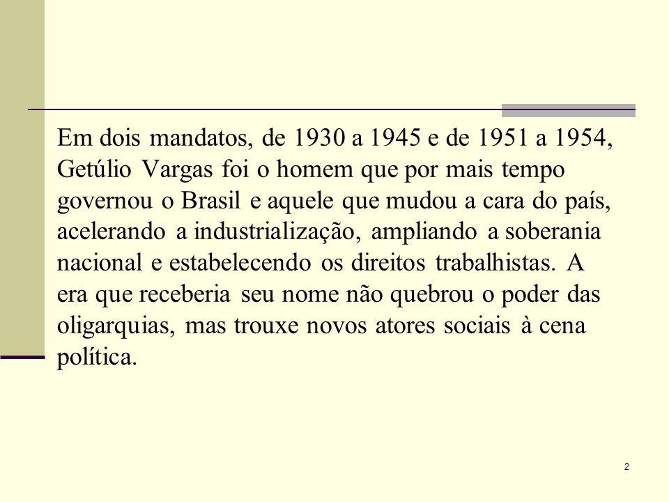 Em dois mandatos, de 1930 a 1945 e de 1951 a 1954, Getúlio Vargas foi o homem que por mais tempo governou o Brasil e aquele que mudou a cara do país,
