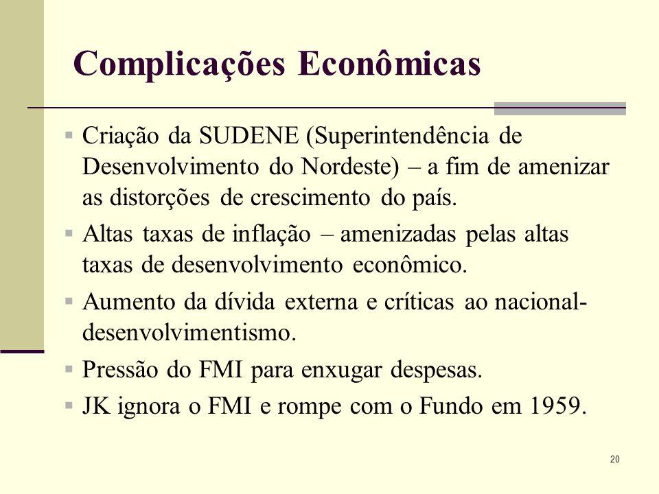 Criação da SUDENE (Superintendência de Desenvolvimento do Nordeste) – a fim de amenizar as distorções de crescimento do país. Altas taxas de inflação