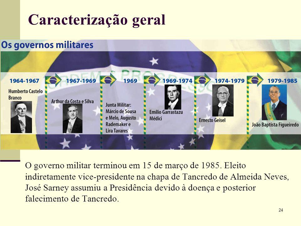 O governo militar terminou em 15 de março de 1985. Eleito indiretamente vice-presidente na chapa de Tancredo de Almeida Neves, José Sarney assumiu a P