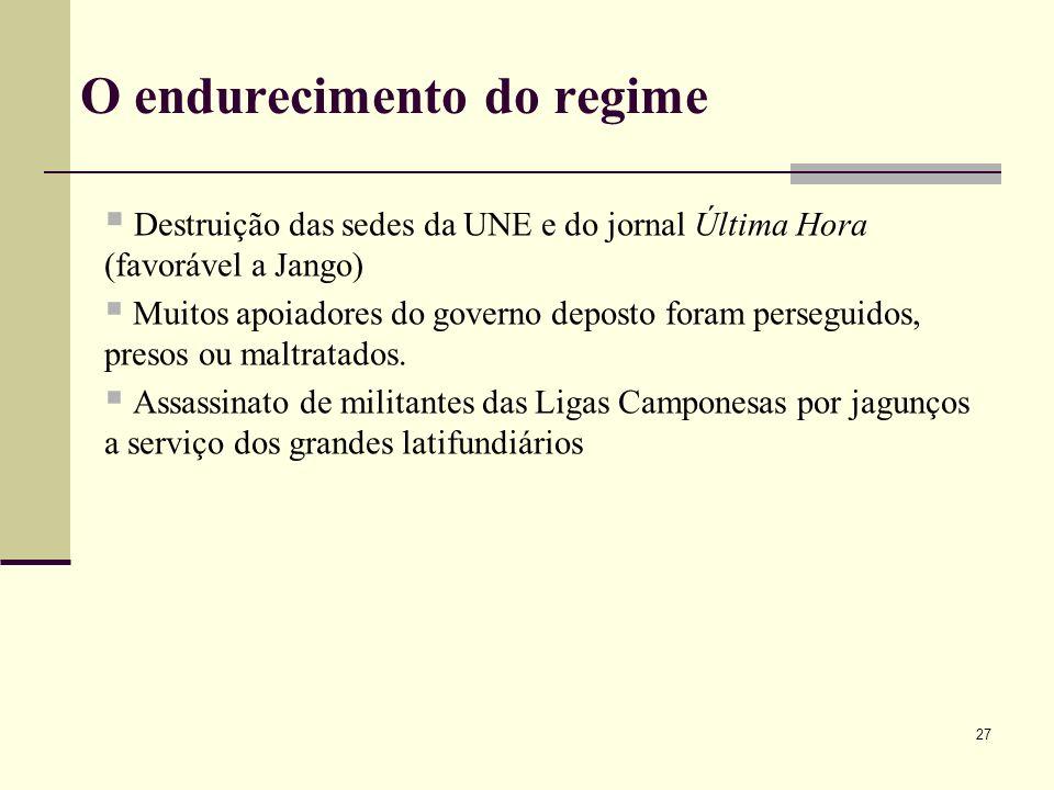 O endurecimento do regime Destruição das sedes da UNE e do jornal Última Hora (favorável a Jango) Muitos apoiadores do governo deposto foram perseguid