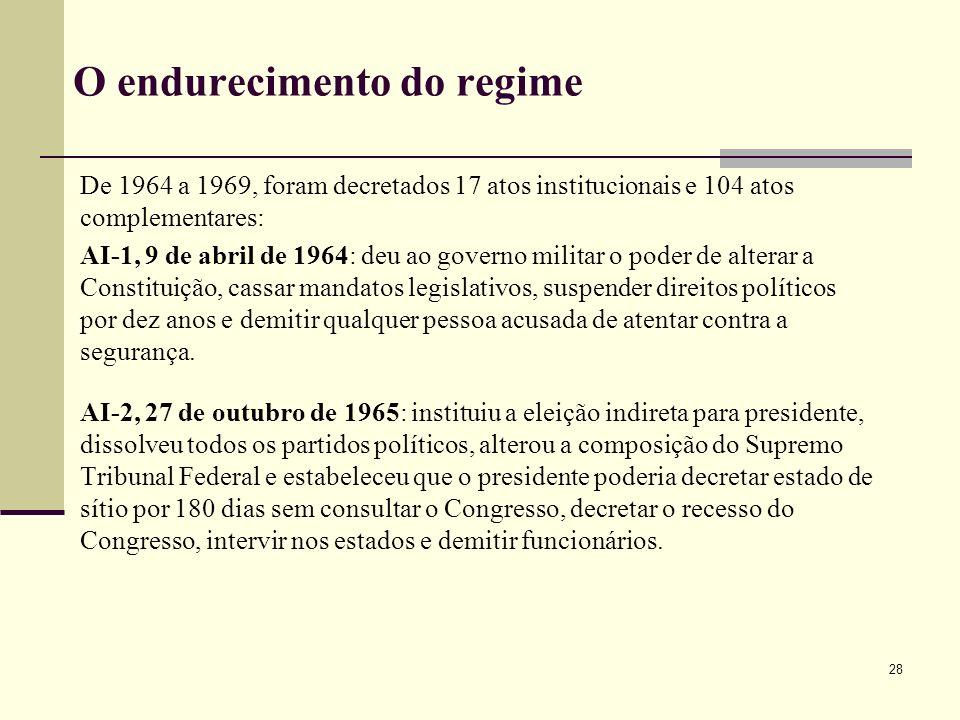 O endurecimento do regime De 1964 a 1969, foram decretados 17 atos institucionais e 104 atos complementares: AI-1, 9 de abril de 1964: deu ao governo