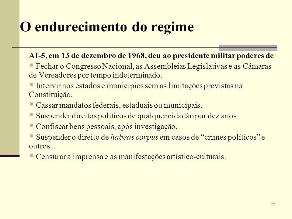 O endurecimento do regime AI-5, em 13 de dezembro de 1968, deu ao presidente militar poderes de: Fechar o Congresso Nacional, as Assembleias Legislati