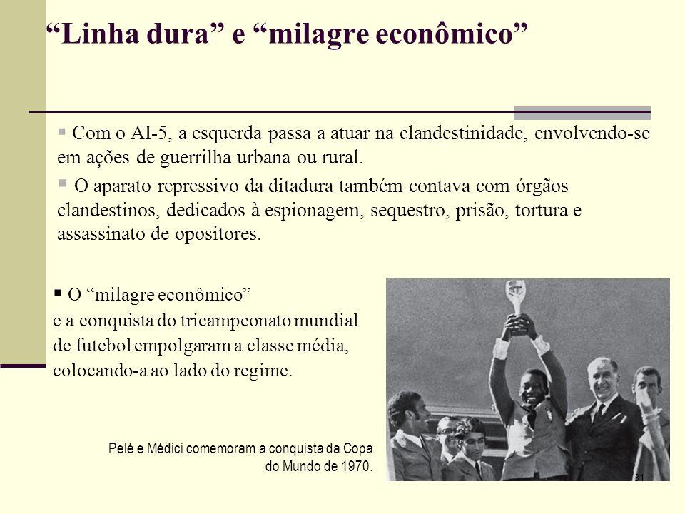 Linha dura e milagre econômico Com o AI-5, a esquerda passa a atuar na clandestinidade, envolvendo-se em ações de guerrilha urbana ou rural. O aparato