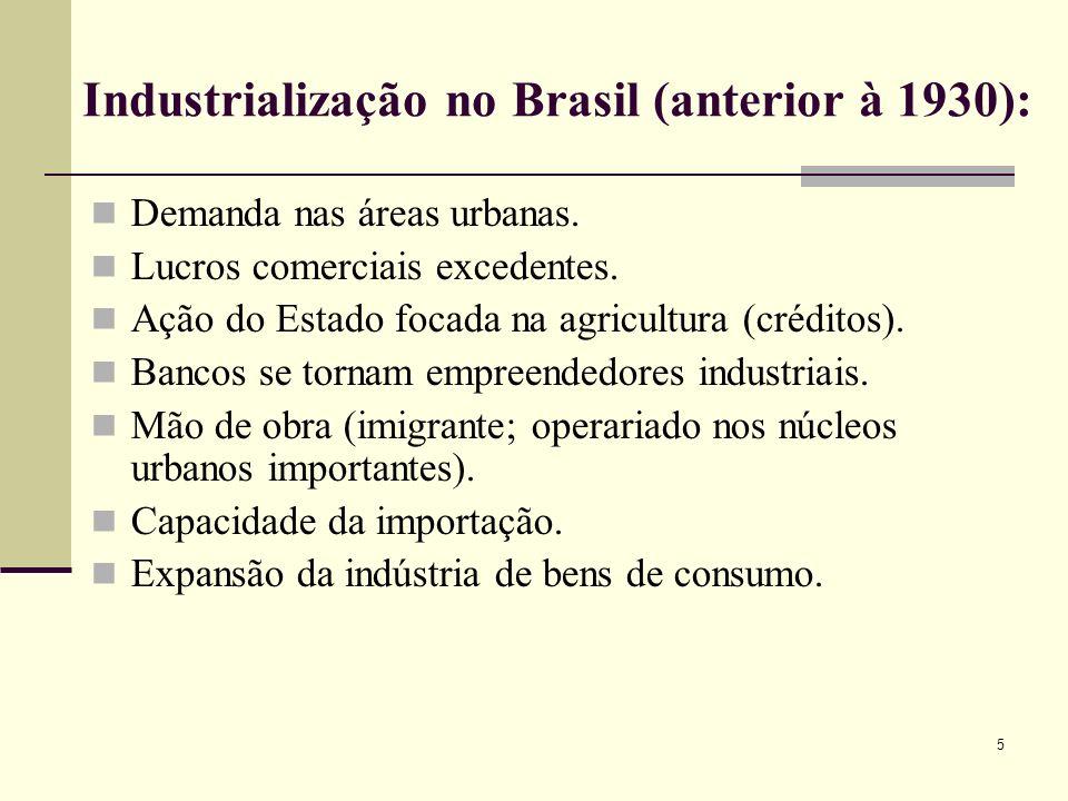 Industrialização no Brasil (anterior à 1930): Demanda nas áreas urbanas. Lucros comerciais excedentes. Ação do Estado focada na agricultura (créditos)