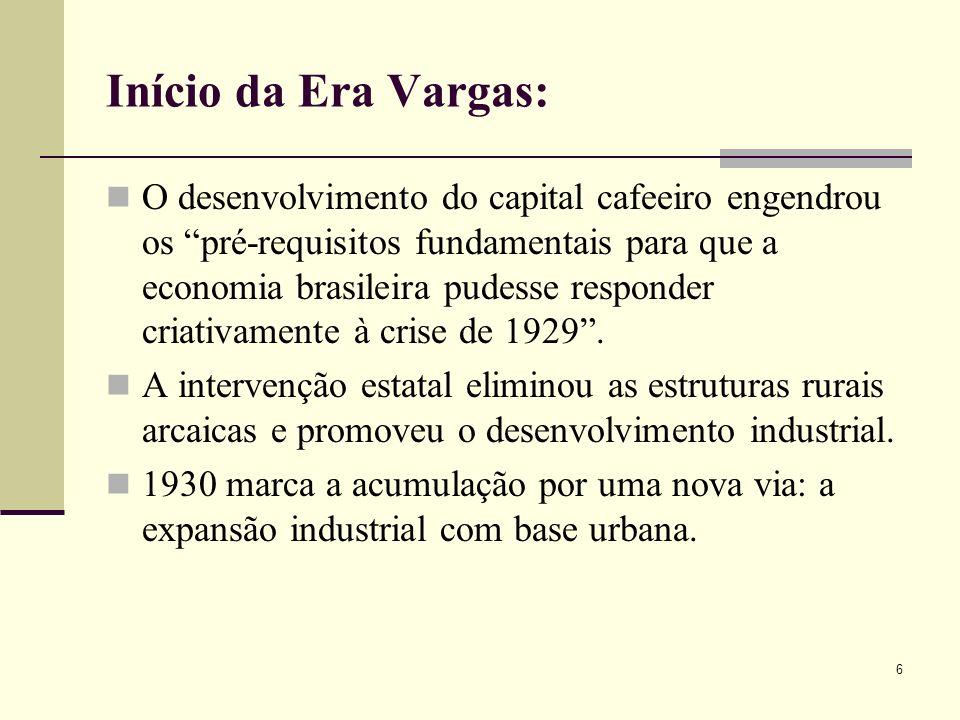 Início da Era Vargas: O desenvolvimento do capital cafeeiro engendrou os pré-requisitos fundamentais para que a economia brasileira pudesse responder