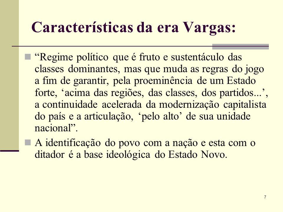 Características da era Vargas: Regime político que é fruto e sustentáculo das classes dominantes, mas que muda as regras do jogo a fim de garantir, pe