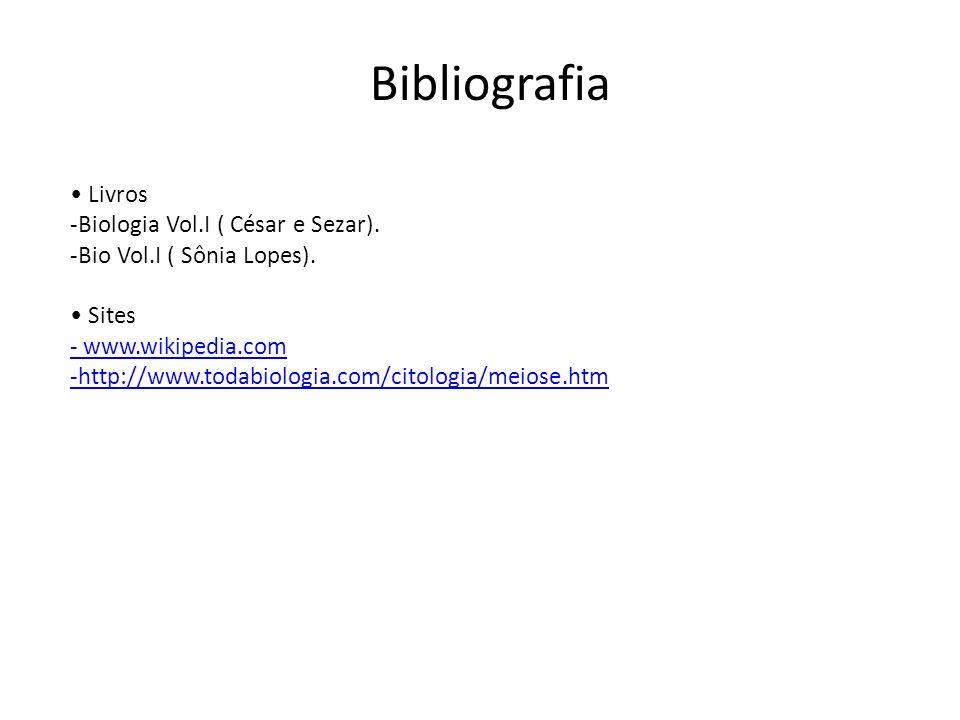 Bibliografia Livros -Biologia Vol.I ( César e Sezar). -Bio Vol.I ( Sônia Lopes). Sites - www.wikipedia.com -http://www.todabiologia.com/citologia/meio
