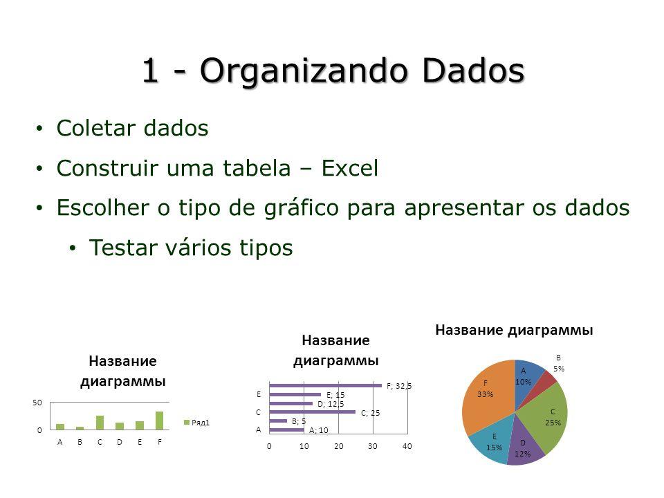 1 - Organizando Dados Coletar dados Construir uma tabela – Excel Escolher o tipo de gráfico para apresentar os dados Testar vários tipos