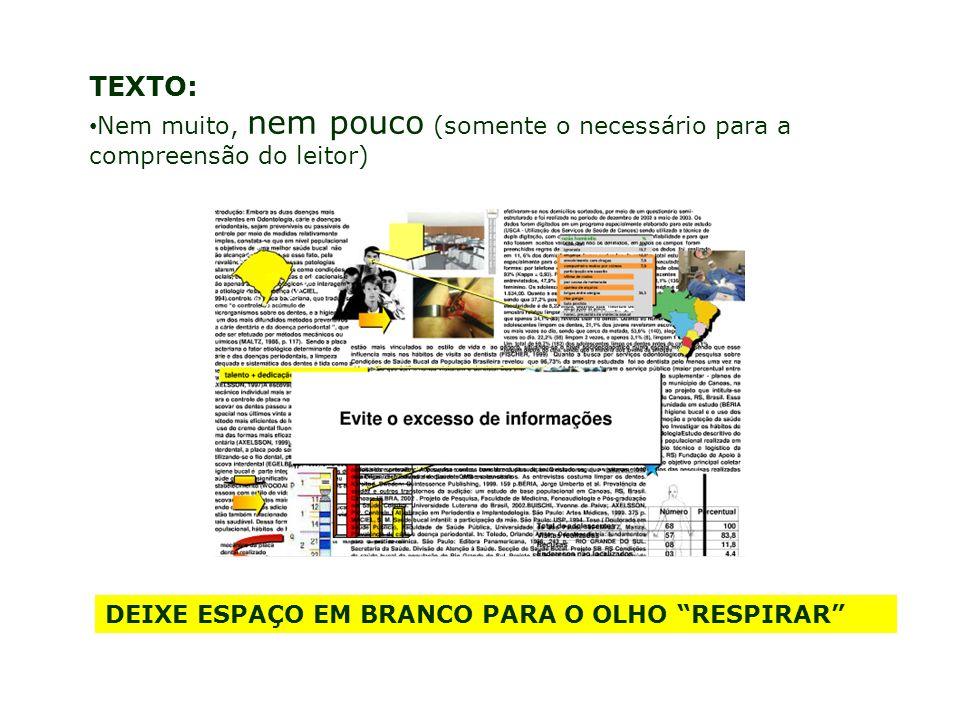 TEXTO: Nem muito, nem pouco (somente o necessário para a compreensão do leitor) DEIXE ESPAÇO EM BRANCO PARA O OLHO RESPIRAR