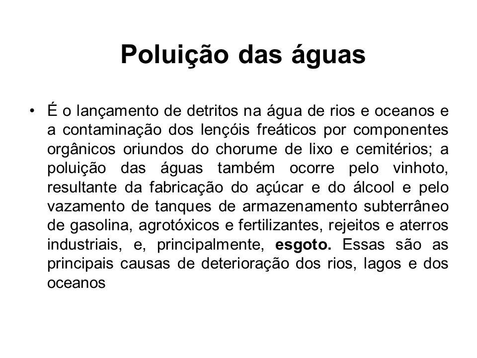 Poluição das águas É o lançamento de detritos na água de rios e oceanos e a contaminação dos lençóis freáticos por componentes orgânicos oriundos do c