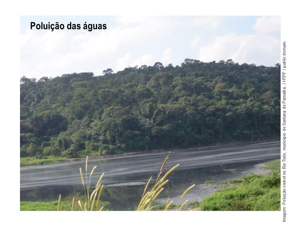 Poluição das águas Imagem: Poluição visível no Rio Tiete, município de Santana de Parnaíba. / HTPF / public domain.