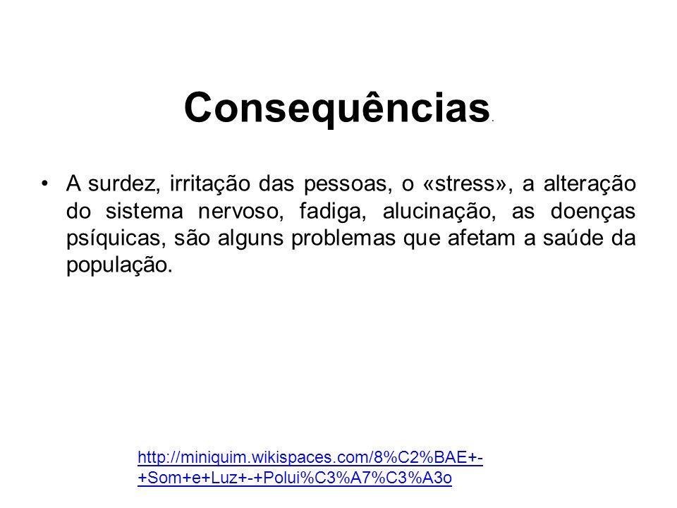 Consequências. A surdez, irritação das pessoas, o «stress», a alteração do sistema nervoso, fadiga, alucinação, as doenças psíquicas, são alguns probl