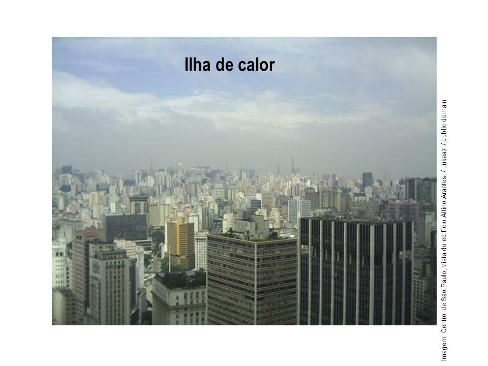 Geografia, 1º ano Problemas ambientais urbanos Ilha de calor Imagem: Centro de São Paulo, vista do edifício Altino Arantes. / Lukaaz / public domain.