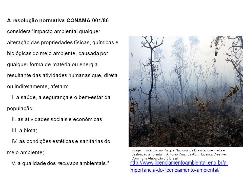 A resolução normativa CONAMA 001/86 considera impacto ambiental qualquer alteração das propriedades físicas, químicas e biológicas do meio ambiente, c