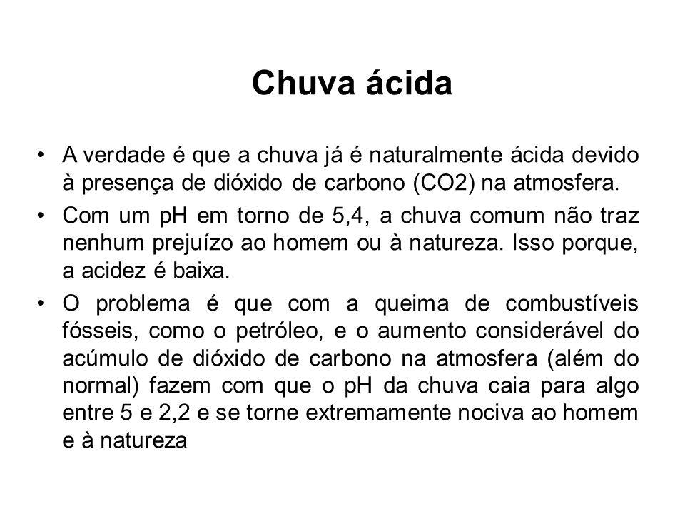 Chuva ácida A verdade é que a chuva já é naturalmente ácida devido à presença de dióxido de carbono (CO2) na atmosfera. Com um pH em torno de 5,4, a c