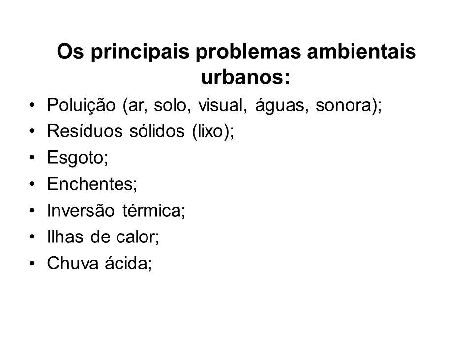 Os principais problemas ambientais urbanos: Poluição (ar, solo, visual, águas, sonora); Resíduos sólidos (lixo); Esgoto; Enchentes; Inversão térmica;