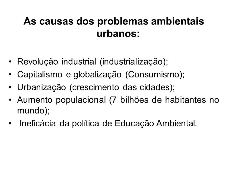 As causas dos problemas ambientais urbanos: Revolução industrial (industrialização); Capitalismo e globalização (Consumismo); Urbanização (crescimento
