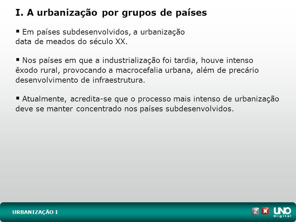 I. A urbanização por grupos de países URBANIZAÇÃO I Em países subdesenvolvidos, a urbanização data de meados do século XX. Nos países em que a industr