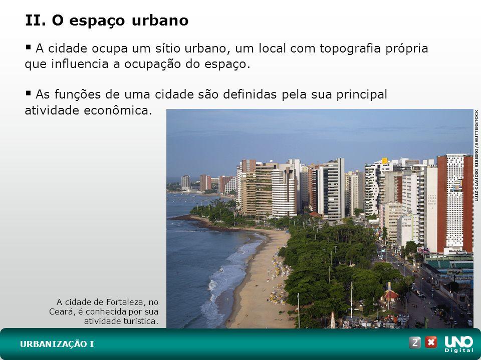 II. O espaço urbano URBANIZAÇÃO I A cidade ocupa um sítio urbano, um local com topografia própria que influencia a ocupação do espaço. As funções de u