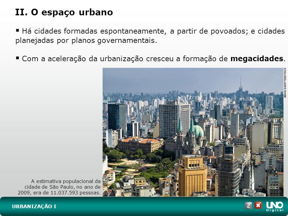 II. O espaço urbano URBANIZAÇÃO I Há cidades formadas espontaneamente, a partir de povoados; e cidades planejadas por planos governamentais. Com a ace