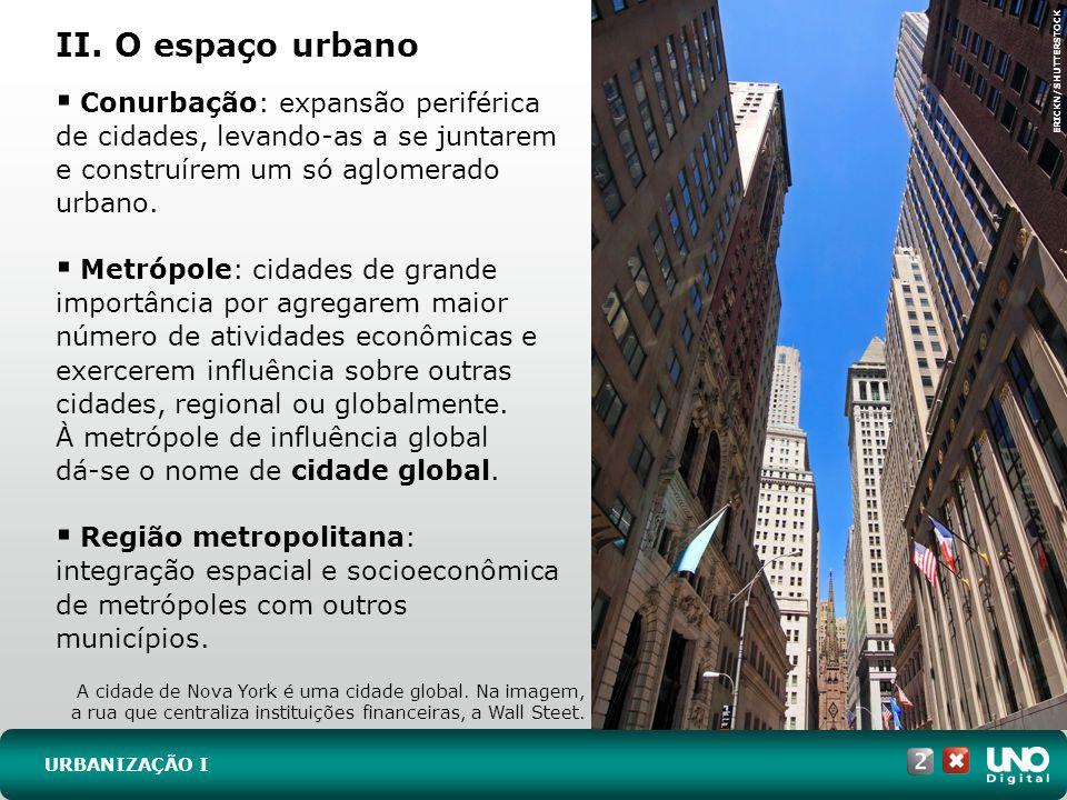 II. O espaço urbano URBANIZAÇÃO I Conurbação: expansão periférica de cidades, levando-as a se juntarem e construírem um só aglomerado urbano. Metrópol