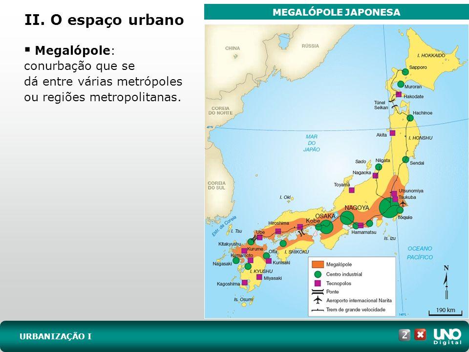 II. O espaço urbano URBANIZAÇÃO I Megalópole: conurbação que se dá entre várias metrópoles ou regiões metropolitanas. MEGALÓPOLE JAPONESA
