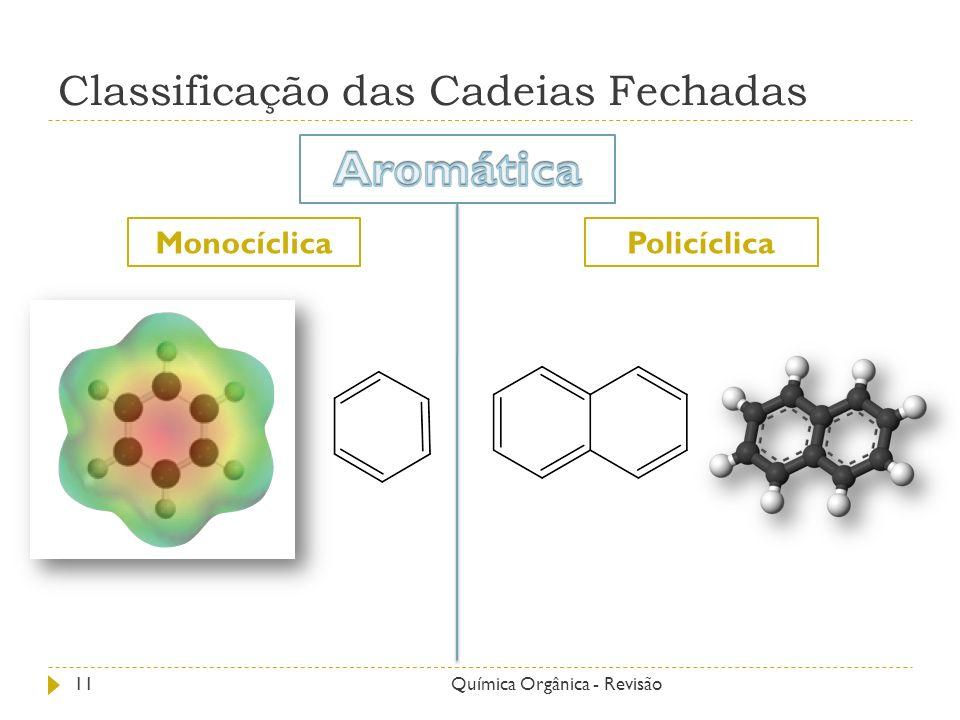 Classificação das Cadeias Fechadas PolicíclicaMonocíclica 11Química Orgânica - Revisão