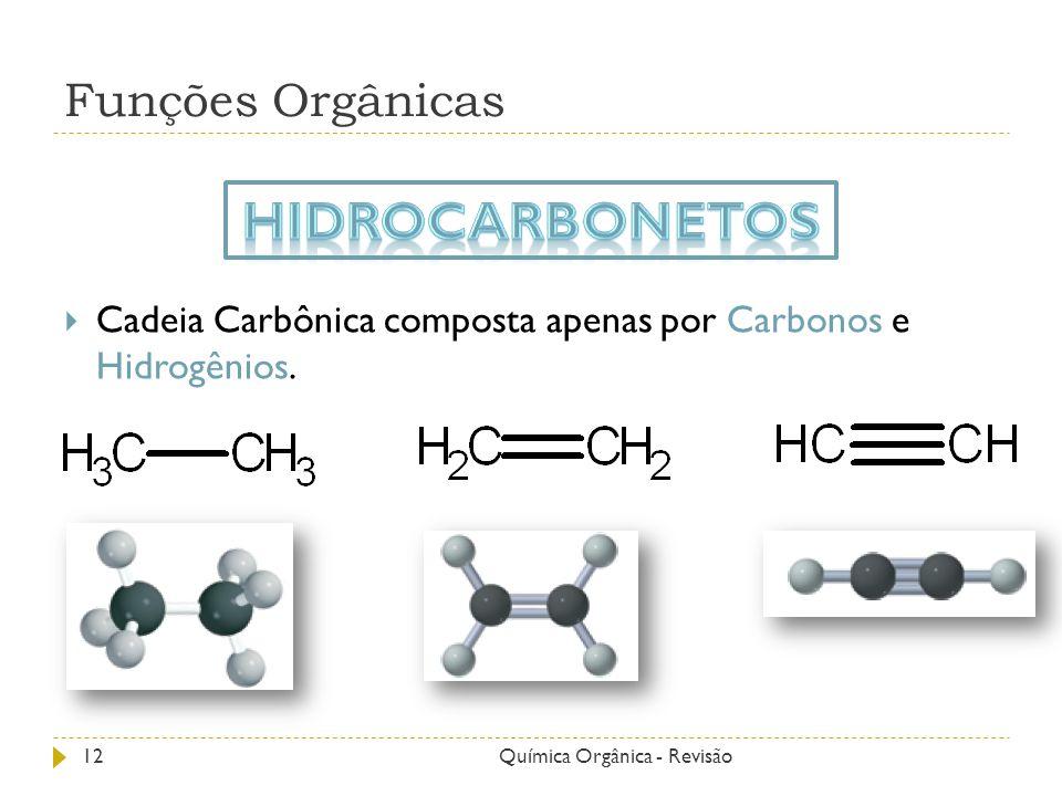 Funções Orgânicas Cadeia Carbônica composta apenas por Carbonos e Hidrogênios. 12Química Orgânica - Revisão