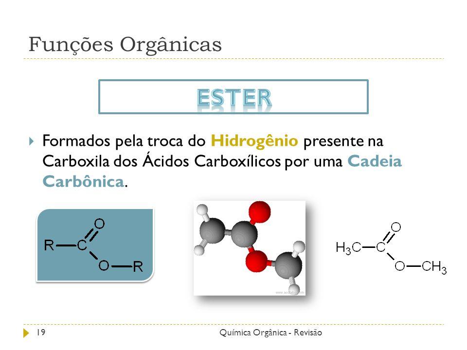 Funções Orgânicas Formados pela troca do Hidrogênio presente na Carboxila dos Ácidos Carboxílicos por uma Cadeia Carbônica. 19Química Orgânica - Revis