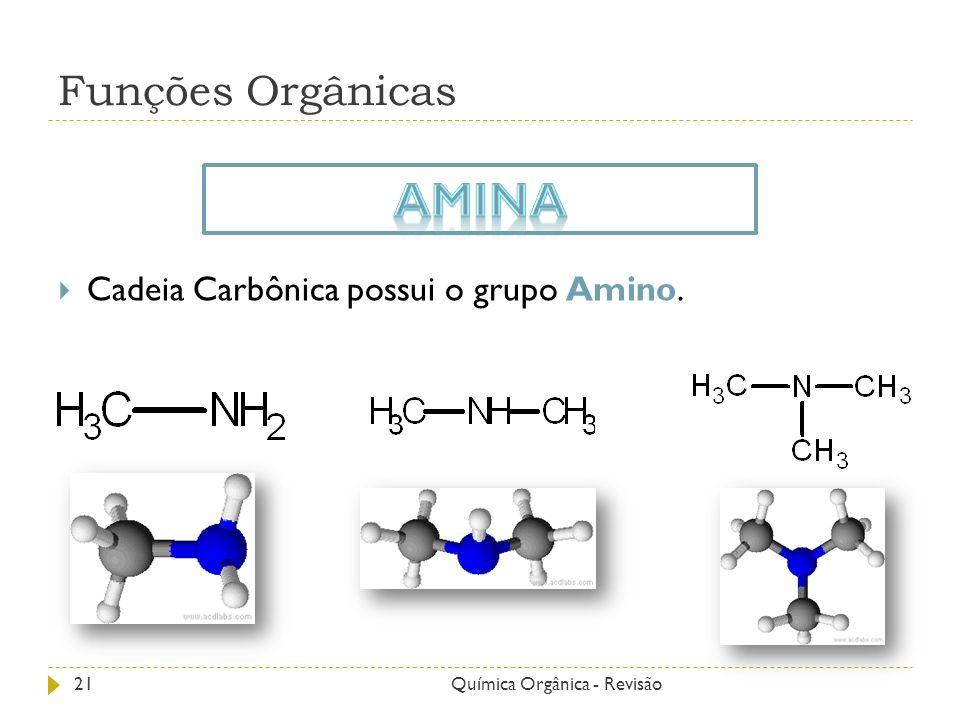 Funções Orgânicas Cadeia Carbônica possui o grupo Amino. 21Química Orgânica - Revisão