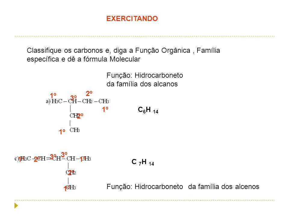 EXERCITANDO Classifique os carbonos e, diga a Função Orgânica, Família específica e dê a fórmula Molecular 1º 2º 3º Função: Hidrocarboneto da família